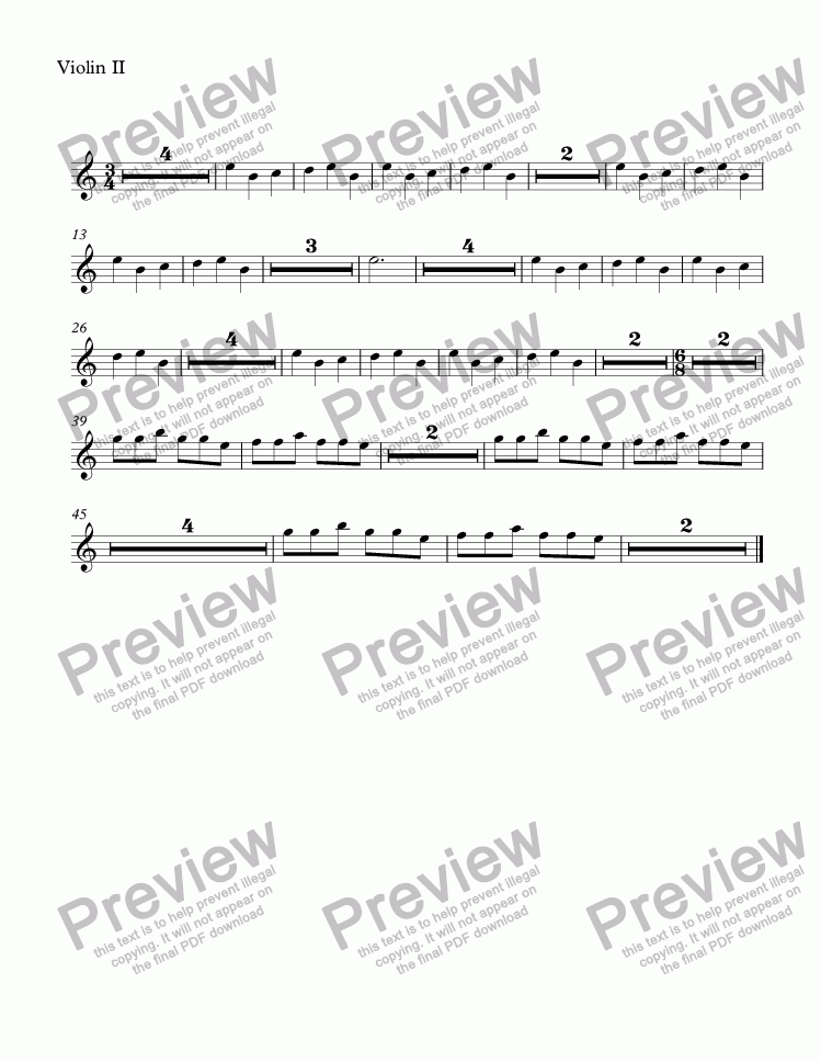 page one of the Runaway Symponium - Violin II part from Runaway Symphonium