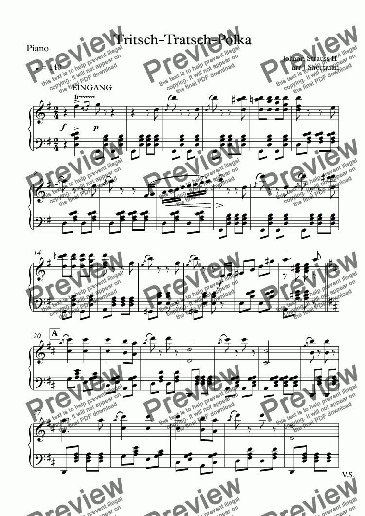 page one of the Piano part from JOHANN STRAUSS II - Tritsch-Tratsch-Polka (arranged for training orchestra)