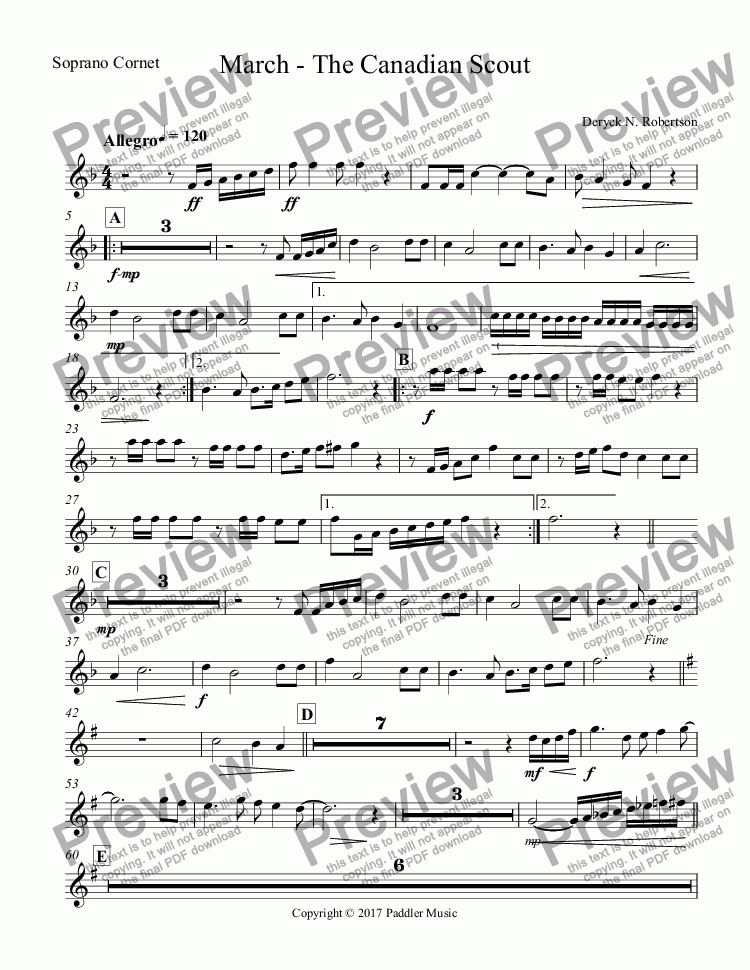 page one of the Soprano Cornet part from March - The Canadian Scout