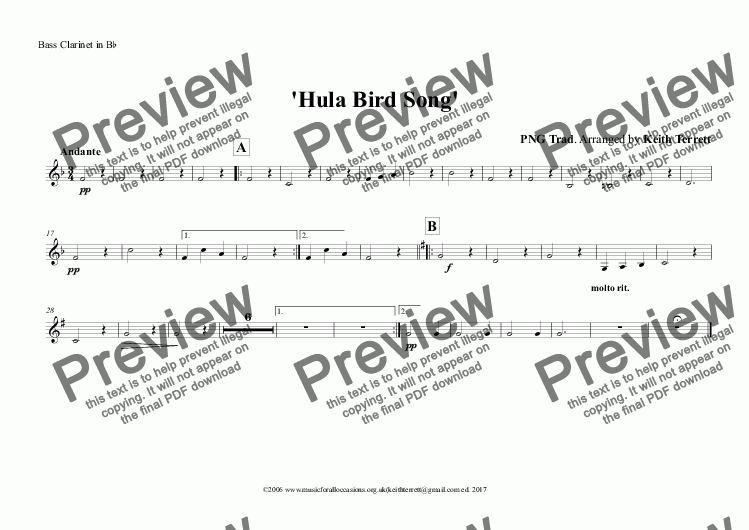 page one of the Bass Clarinet in B^b part from Hula Bird Song for Concert/Wind Band