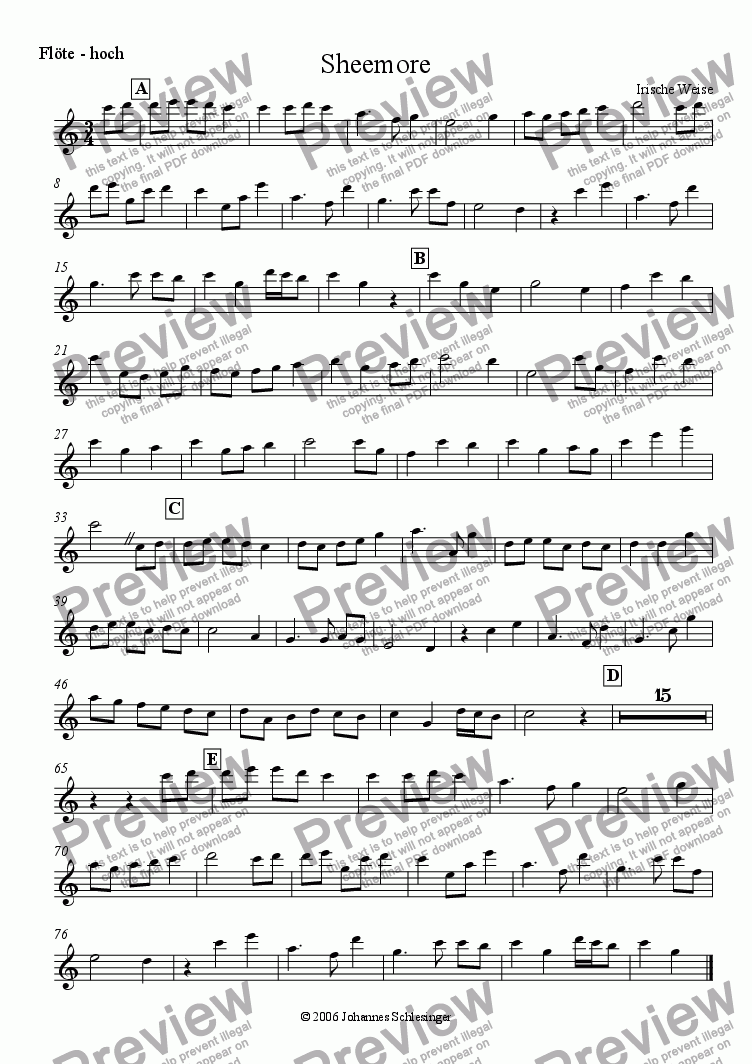 page one of the flute-high part from Sheemore