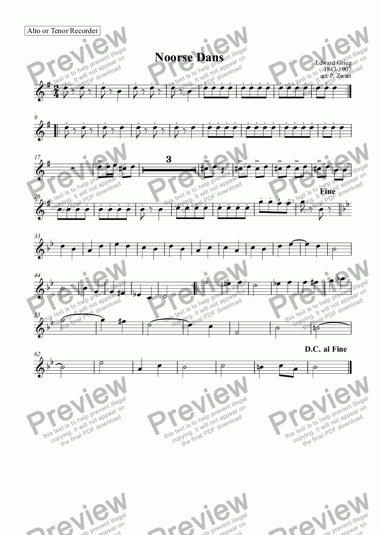 page one of the Alto or Tenor Recorder part from Noorse dans (Grieg)