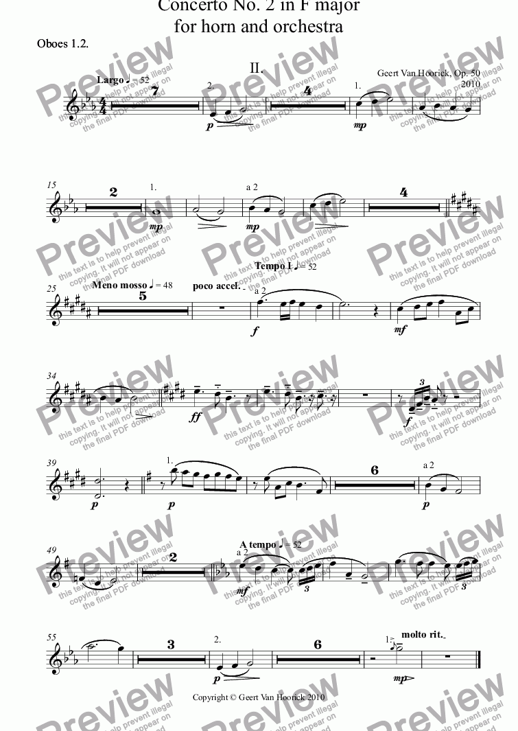 page one of the Oboes 1.2. part from Concerto No. 2 in F major for horn and orchestra, Op. 50 - II. Largo