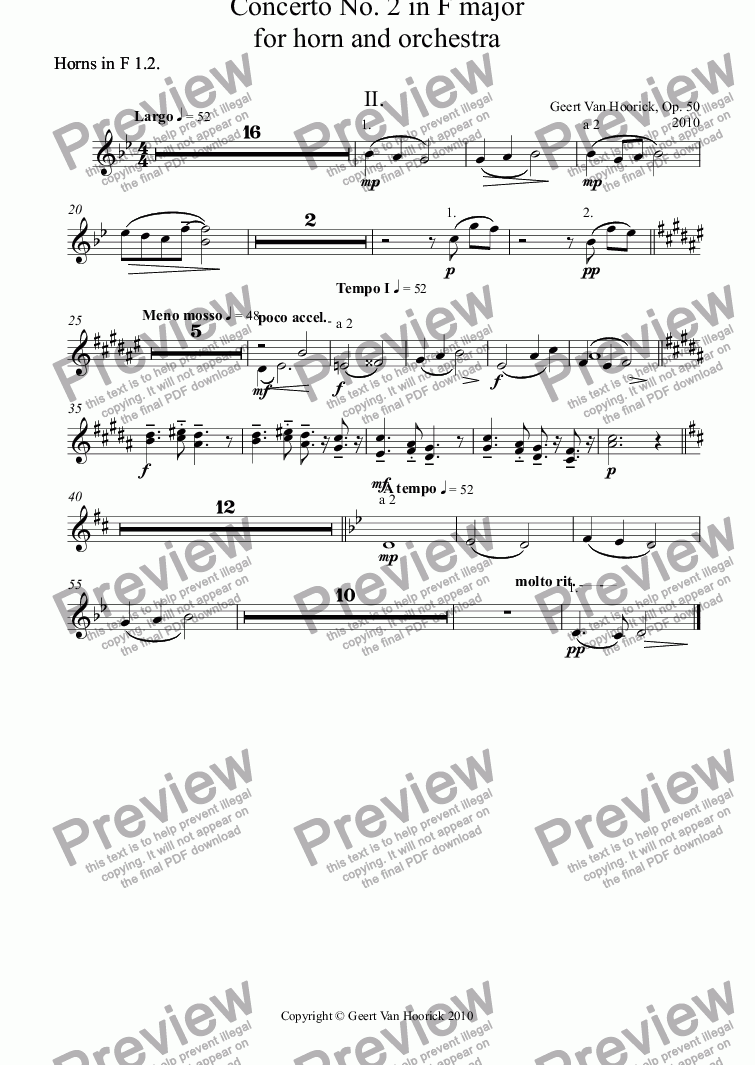 page one of the Horns in F 1.2. part from Concerto No. 2 in F major for horn and orchestra, Op. 50 - II. Largo