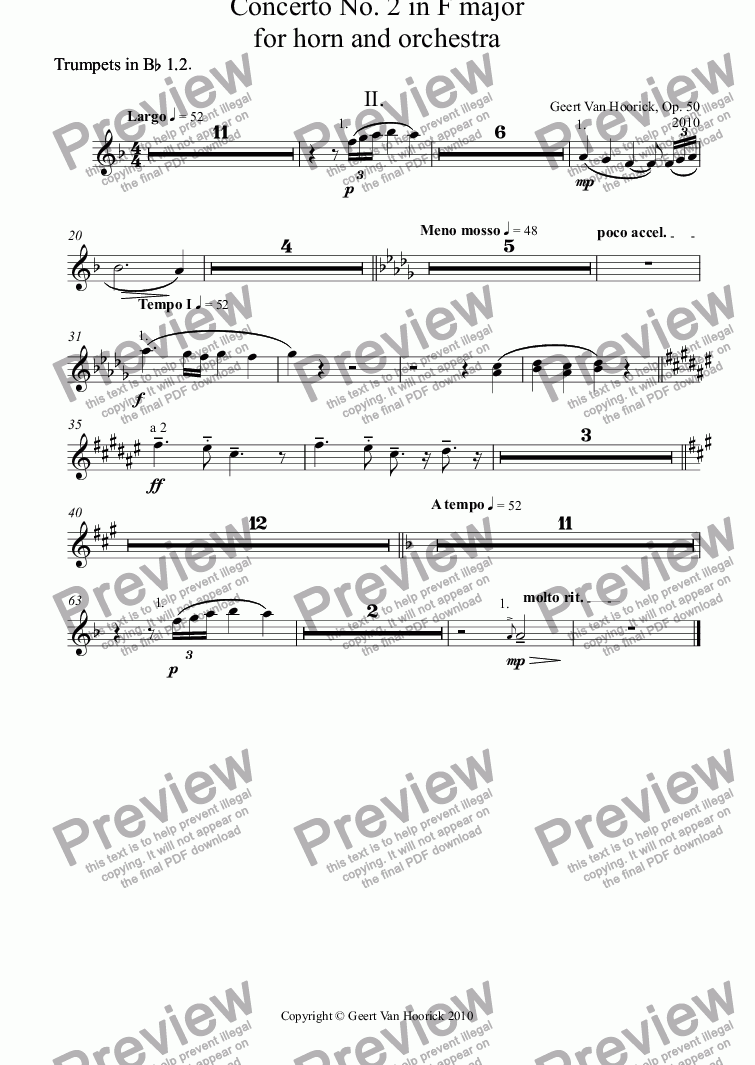 page one of the Trumpets in B^b 1.2^. part from Concerto No. 2 in F major for horn and orchestra, Op. 50 - II. Largo