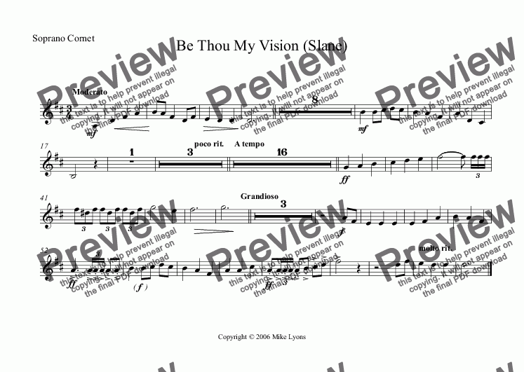 page one of the Soprano Cornet part from Brass Band - Hymn Setting - Be Thou My Vision (Slane)