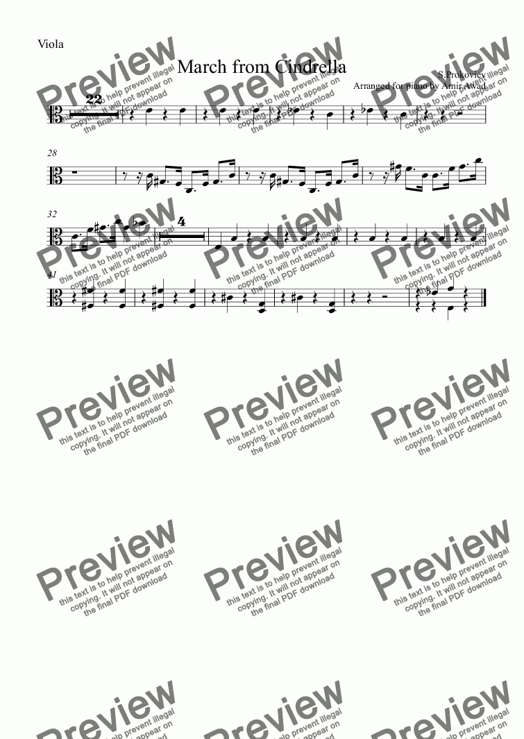 page one of the Viola part from Prokoviev : March from Cindrella Ballet for Piano Solo