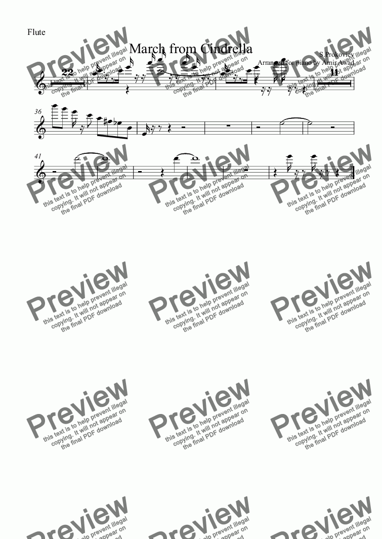page one of the Flute part from Prokoviev : March from Cindrella Ballet for Piano Solo