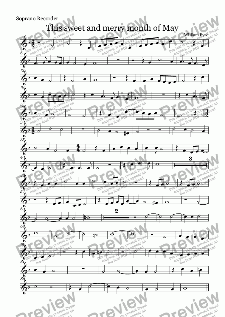 page one of the Soprano Recorder part from This sweet and merry month of May (Byrd)