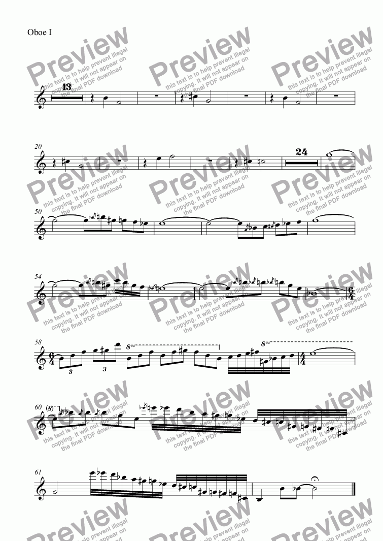 page one of the Oboe I part from Themes with Variations for Orchestra: 5. Blues