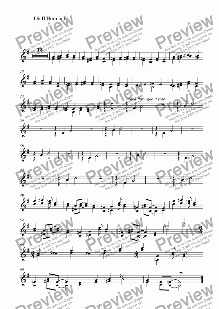 page one of the I & II Horn in F part from Themes with Variations for Orchestra: 5. Blues