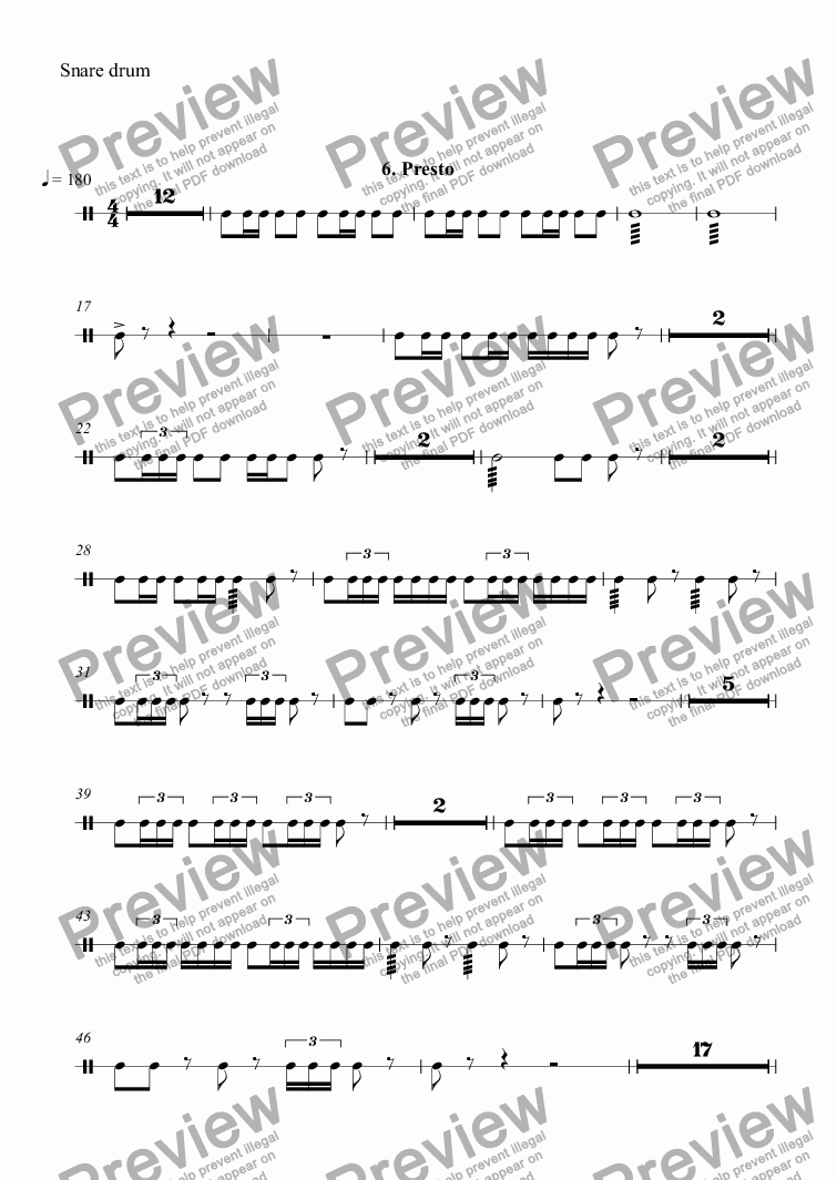 page one of the Snare drum part from Themes with Variations for Orchestra: 6. Presto