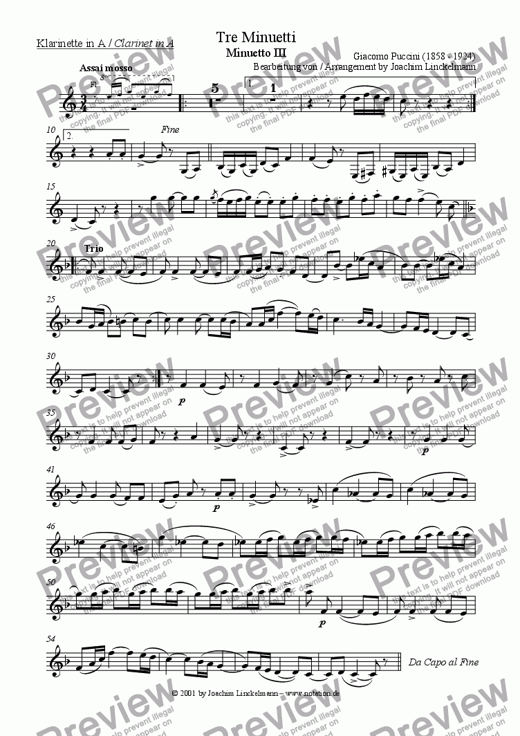 page one of the Clarinet in A part from Minuetto III