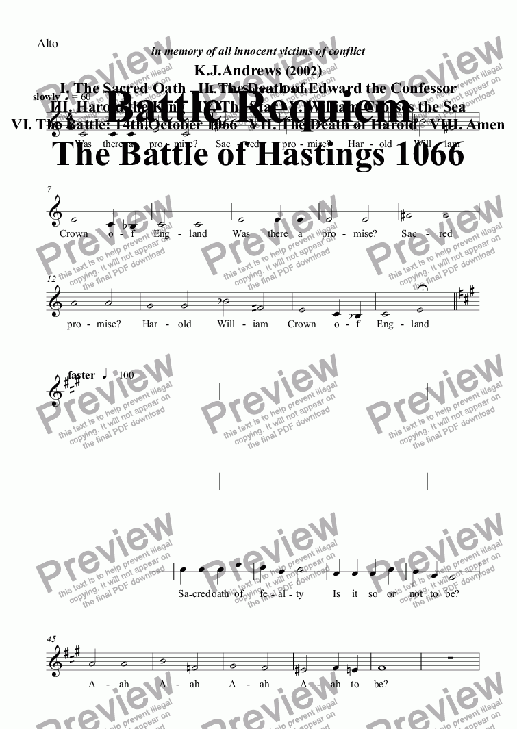 page one of the Alto part from Battle Requiem: I. The Sacred Oath