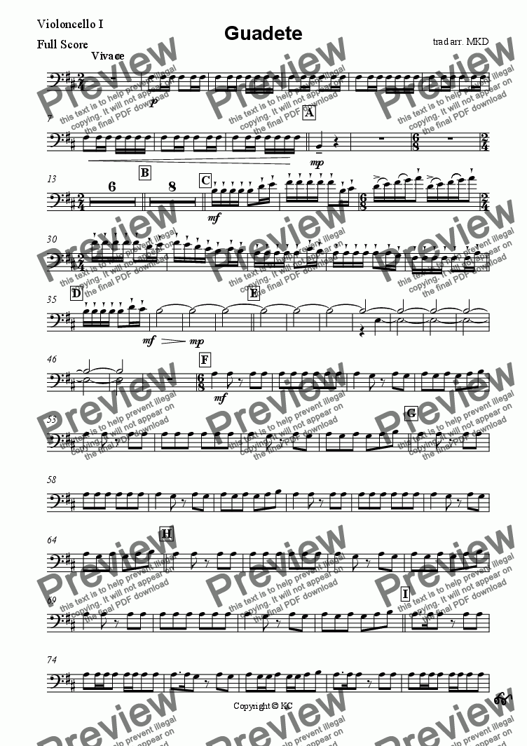 page one of the Cello 1. part from Guadete