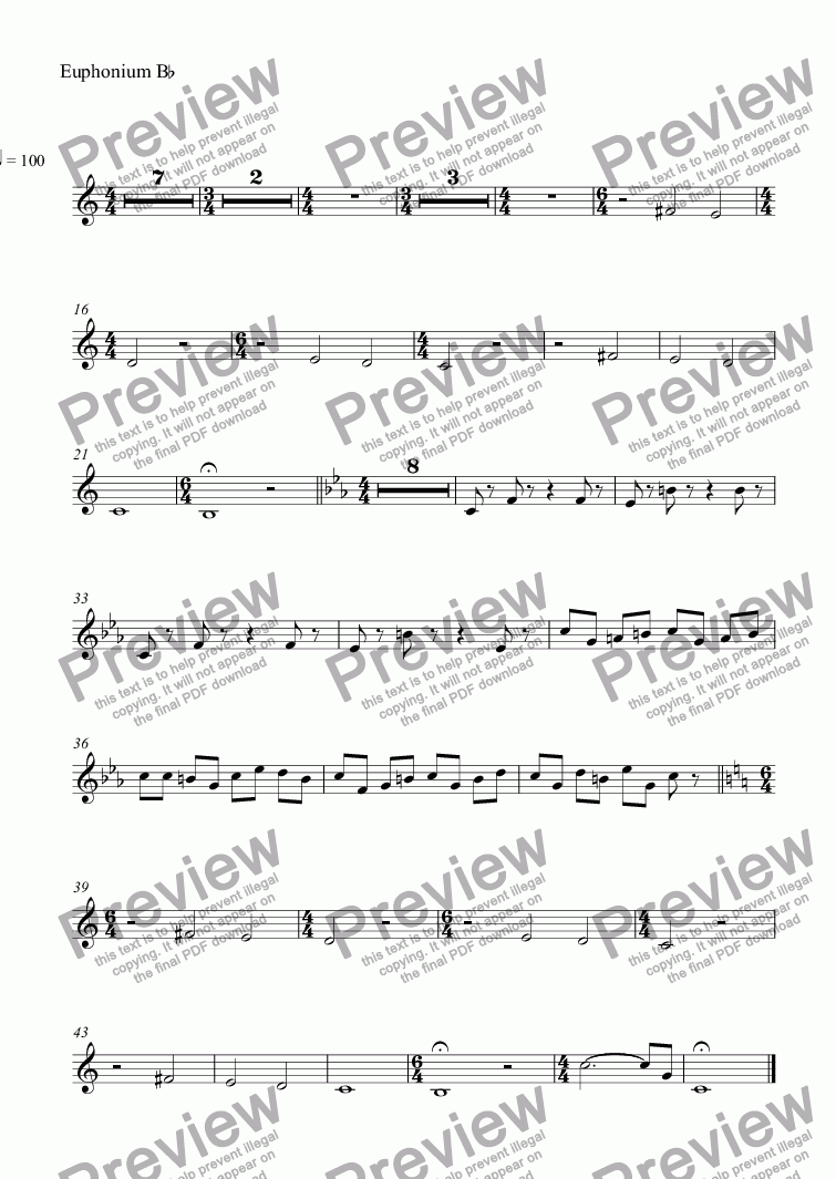 page one of the Euphonium B^b part from Suite for Echo Cornet: 1. Fanfare