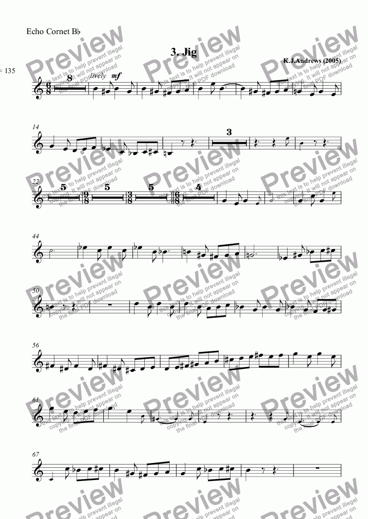 page one of the Echo Cornet B^b part from Suite for Echo Cornet: 3. Jig