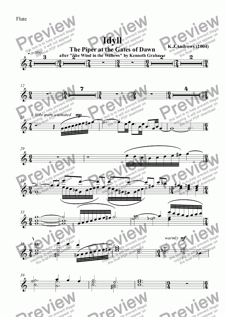 page one of the Flute part from Idyll: The Piper at the Gates of Dawn