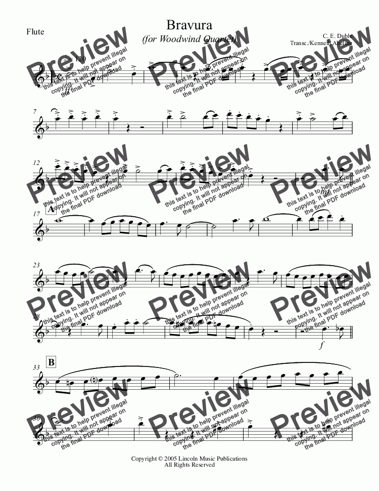 page one of the Flute part from March - Bravura (for Woodwind Quartet)