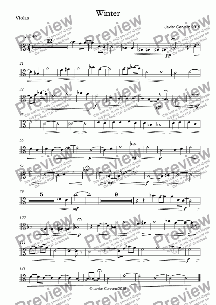 page one of the Violas part from Winter