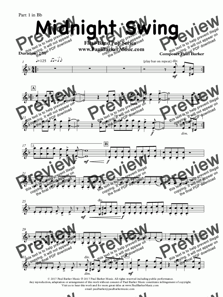 page one of the Part 1 in Bb part from Midnight Swing (Flexi-Band Pop Series)