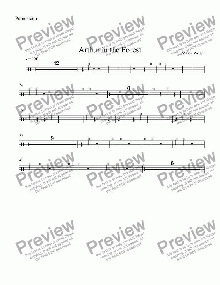 page one of the Percussion part from Arthur in the Forest