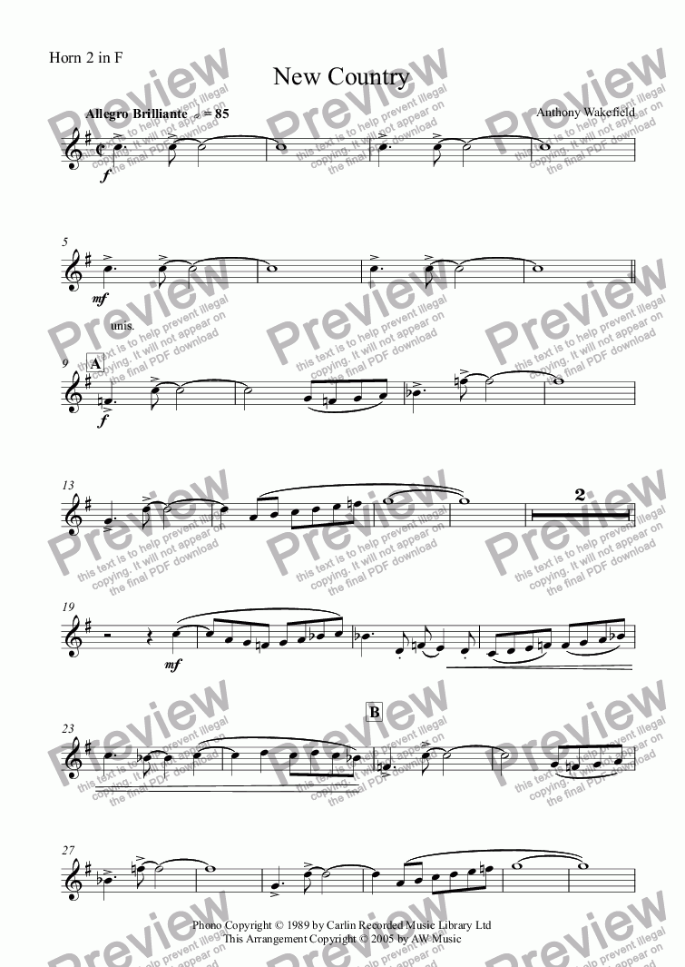 page one of the Horn 2 in F part from New Country