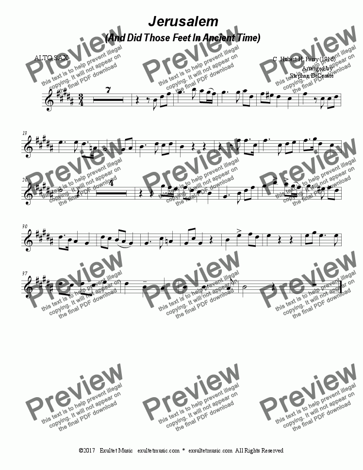 page one of the 8a part from Jerusalem (Duet for Soprano & Alto Saxophone)