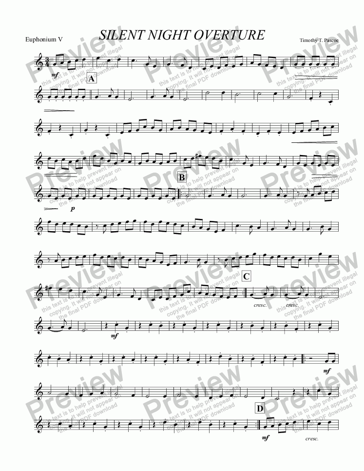 page one of the Euphonium V part from Silent Night (Brass Band)