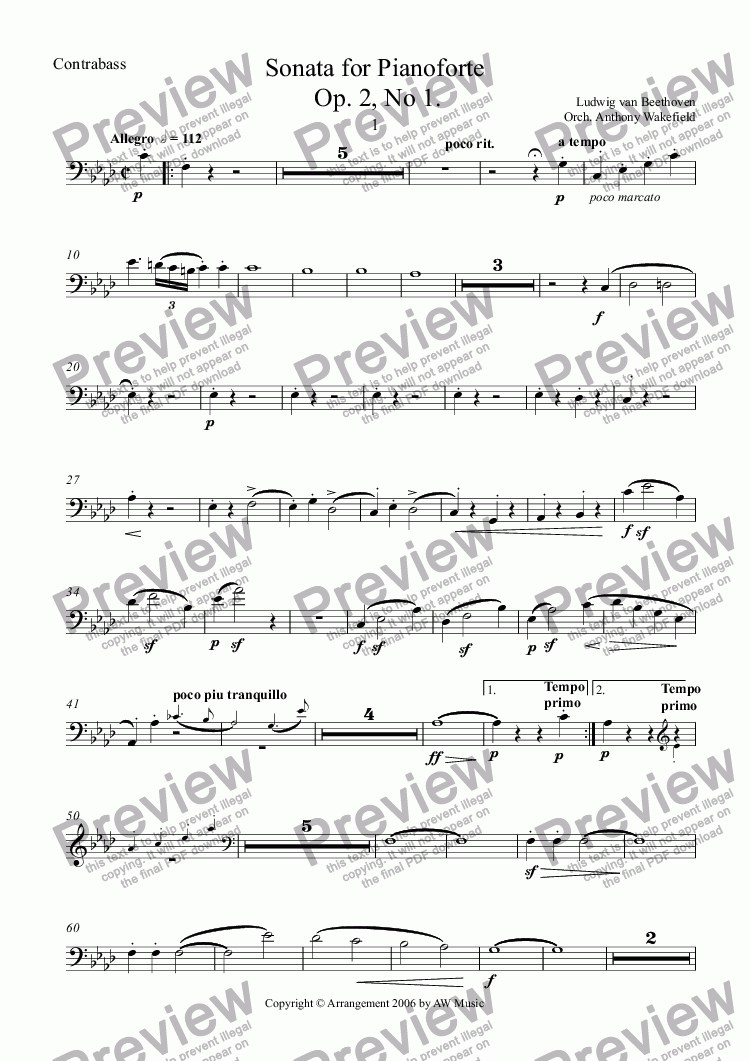 page one of the Contrabassi part from Sonata for Pianoforte [for Orchestra] 1