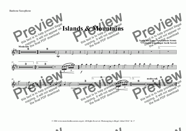 page one of the Baritone Saxophone part from Islands & Mountains for Concert Band