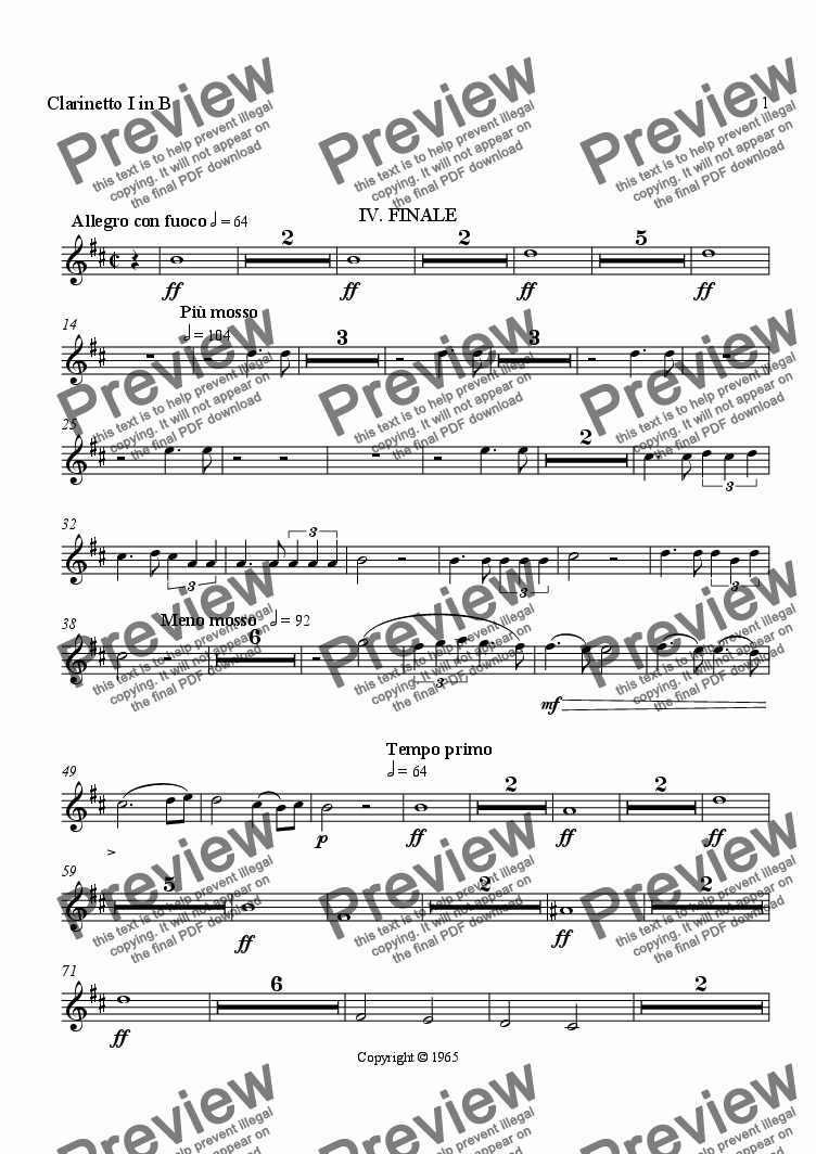 page one of the Clarinet I in B part from Symphony No. 1, Movement 4 (Orchestrated Version)