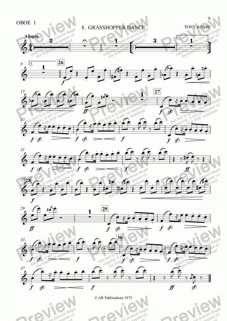 page one of the Ob.1 part from Ballet: Alice In Wonderland (Act 1 - No. 08) Grasshopper