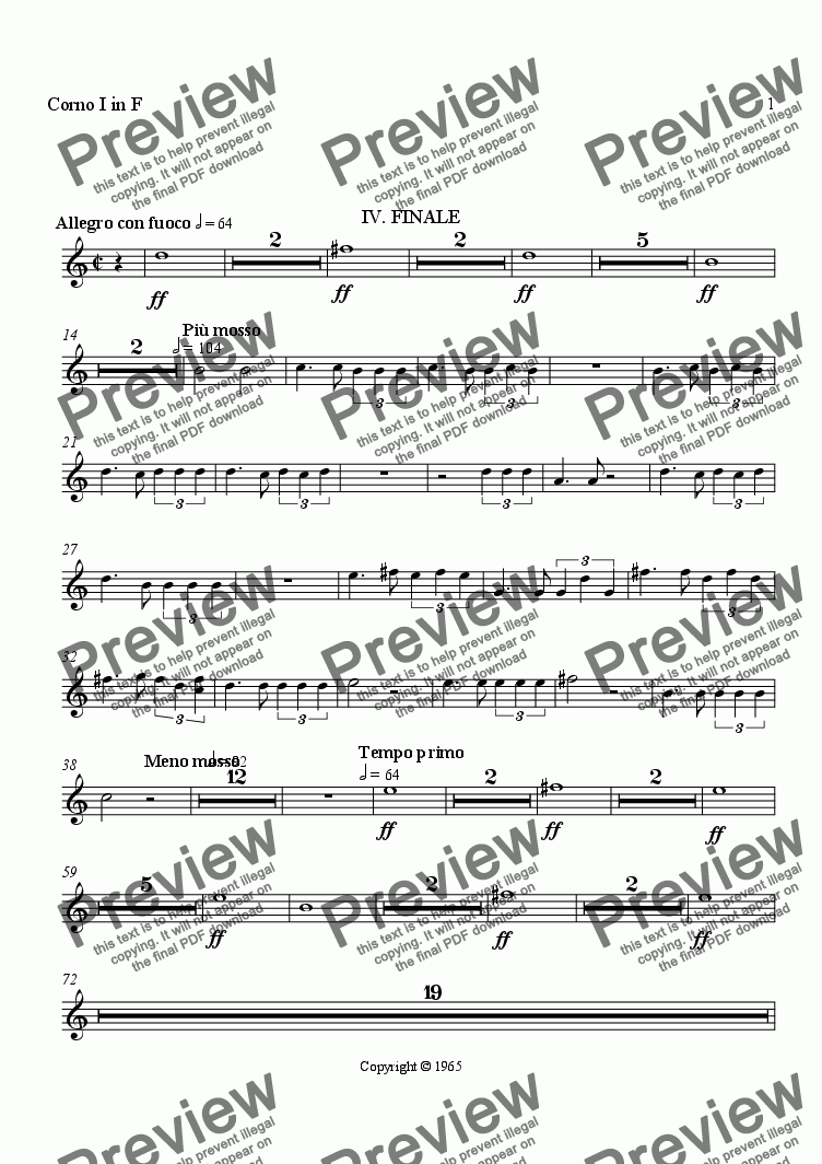 page one of the Horn I in F part from Symphony No. 1, Movement 4 (Orchestrated Version)