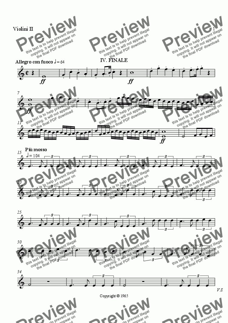 page one of the Violin II part from Symphony No. 1, Movement 4 (Orchestrated Version)