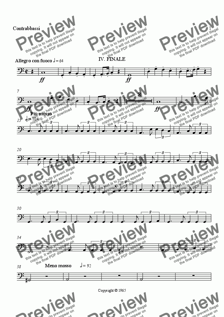 page one of the Double Bass part from Symphony No. 1, Movement 4 (Orchestrated Version)