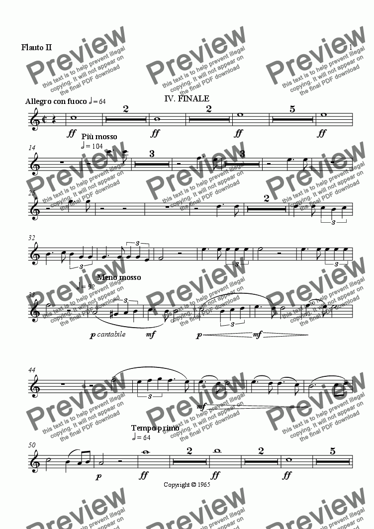 page one of the Flute II part from Symphony No. 1, Movement 4 (Orchestrated Version)