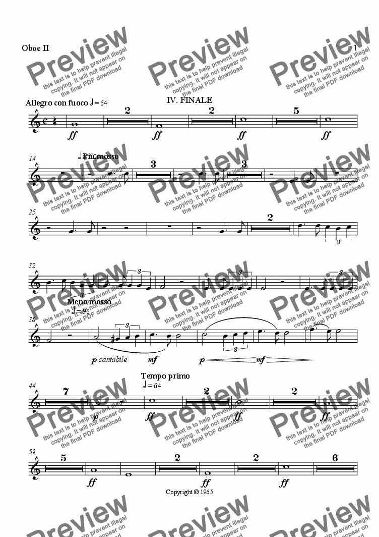 page one of the Oboe II part from Symphony No. 1, Movement 4 (Orchestrated Version)