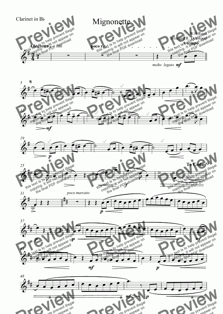 page one of the Clarinet in B^b part from Reed - Mignonette for Bb Clarinet & Piano