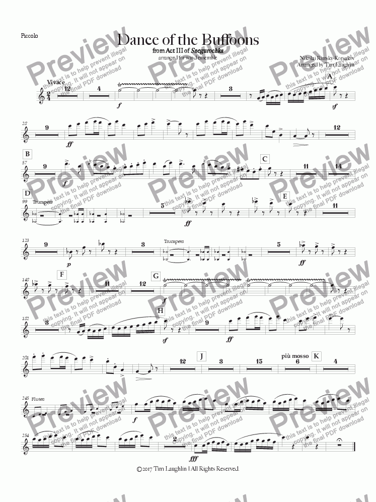 page one of the Piccolo part from Dance of the Buffoons
