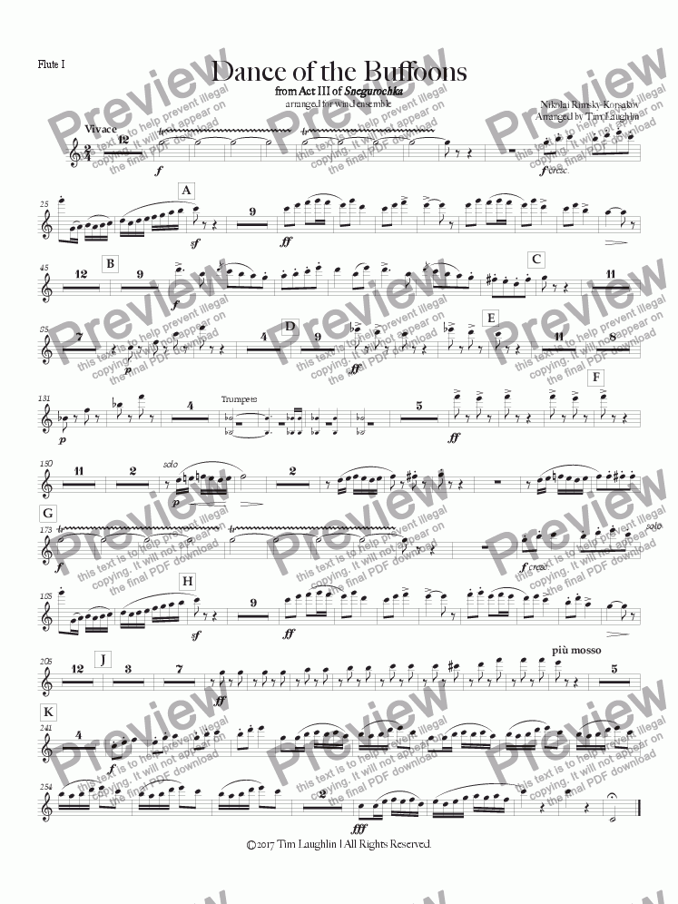 page one of the Flute I part from Dance of the Buffoons