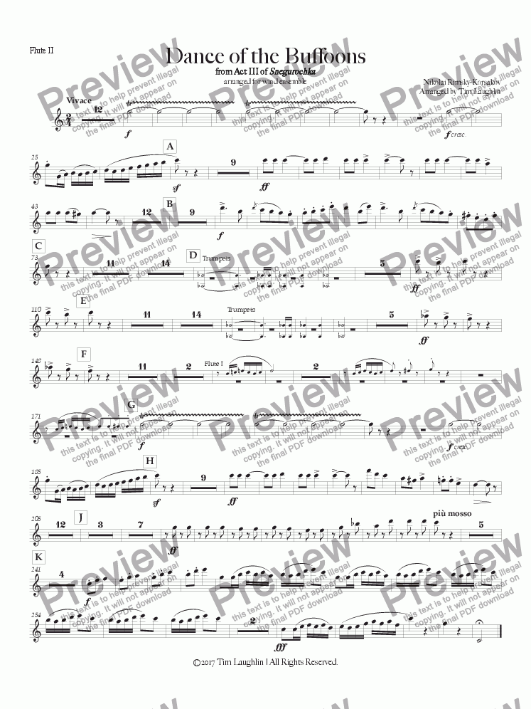 page one of the Flute II part from Dance of the Buffoons