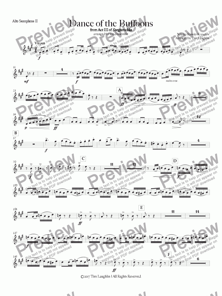 page one of the Alto Saxophone II part from Dance of the Buffoons