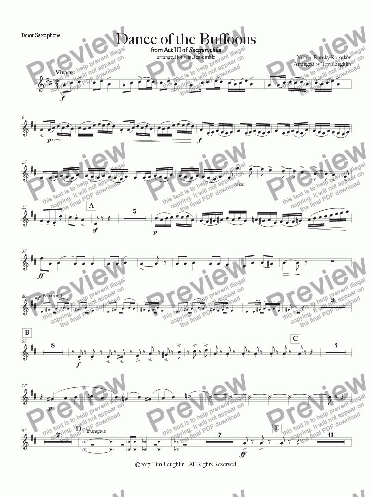 page one of the Tenor Saxophone part from Dance of the Buffoons