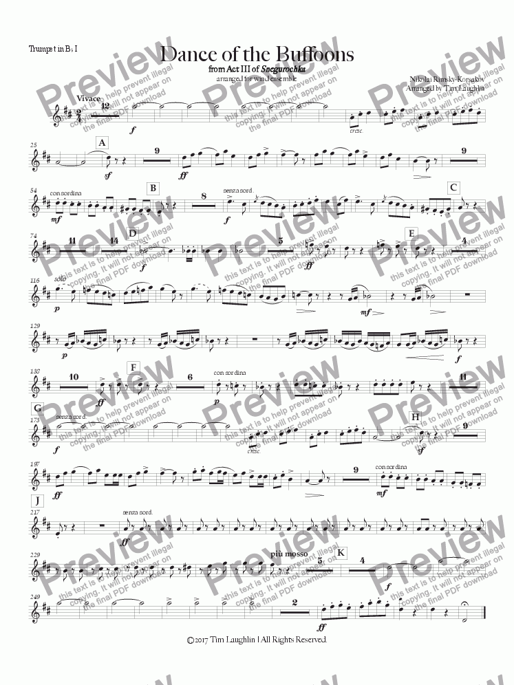 page one of the Bb Trumpet I part from Dance of the Buffoons