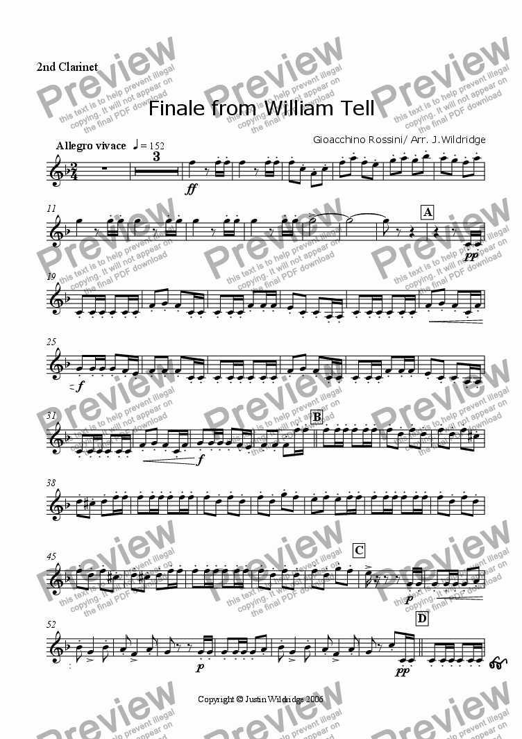 page one of the 2nd Clarinet part from Finale of The William Tell Overture