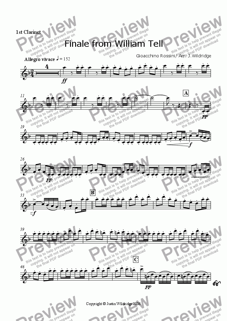 page one of the 1st Clarinet part from Finale of The William Tell Overture