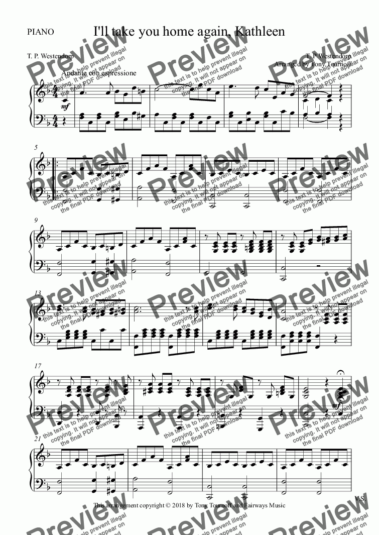 page one of the PIANO part from Silver threads among the gold (SATB)