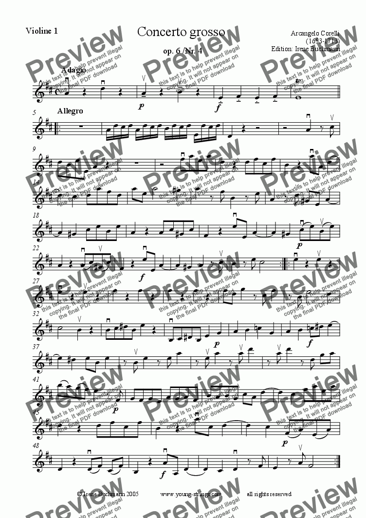 page one of the Violin1 tutti part from Corelli,  Concerto grosso, arr. for young string orchestra