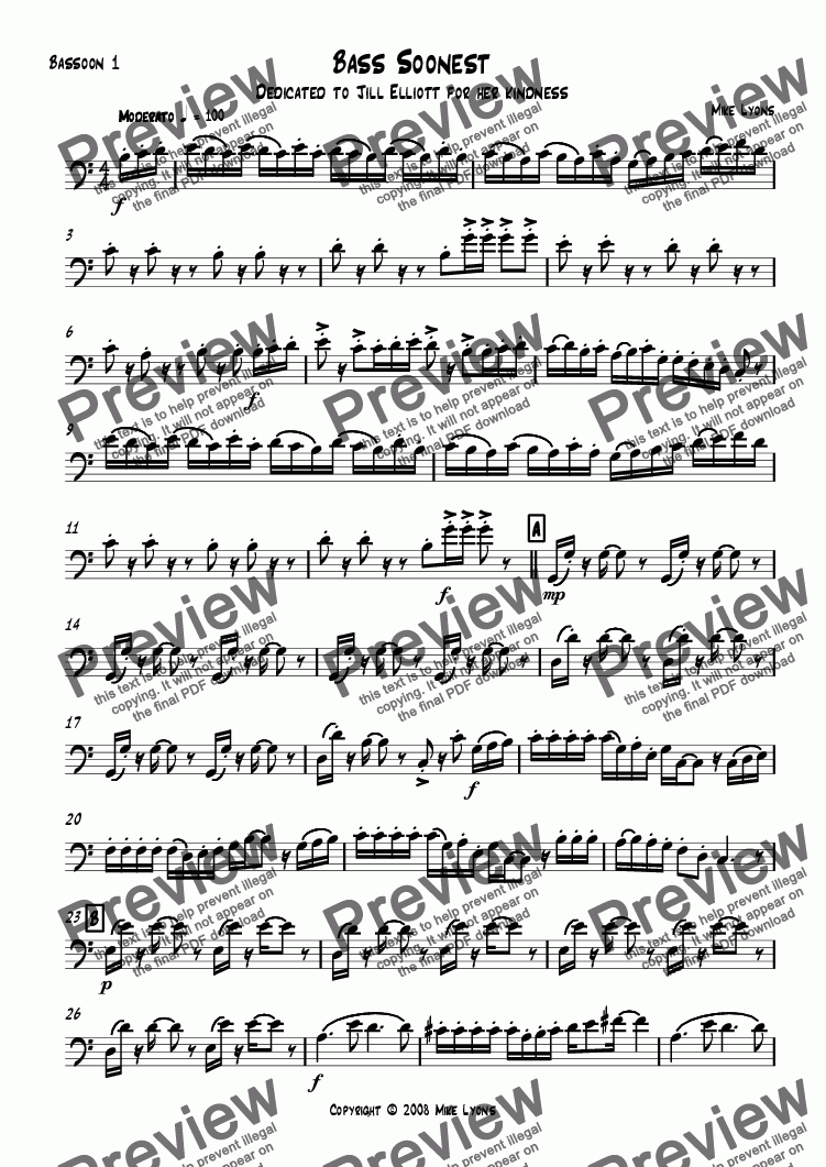 page one of the Bassoon 1 part from Bassoon Quartet - Bass Soonest
